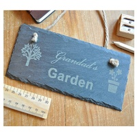 Original personalised rectangle rope hanging slate sign