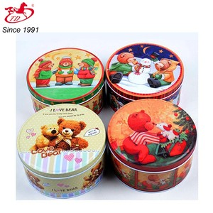 OEM recyclable round food packaging tin box / Biscuit round tin