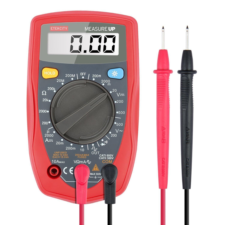 Etekcity Digital Multimeter (DMM) Multi Tester Voltmeter Ammeter Ohmmeter - AC / DC Voltage, DC Current, Resistance, Continuity, Diodes Meter with Backlit LCD (Certified Refurbished)