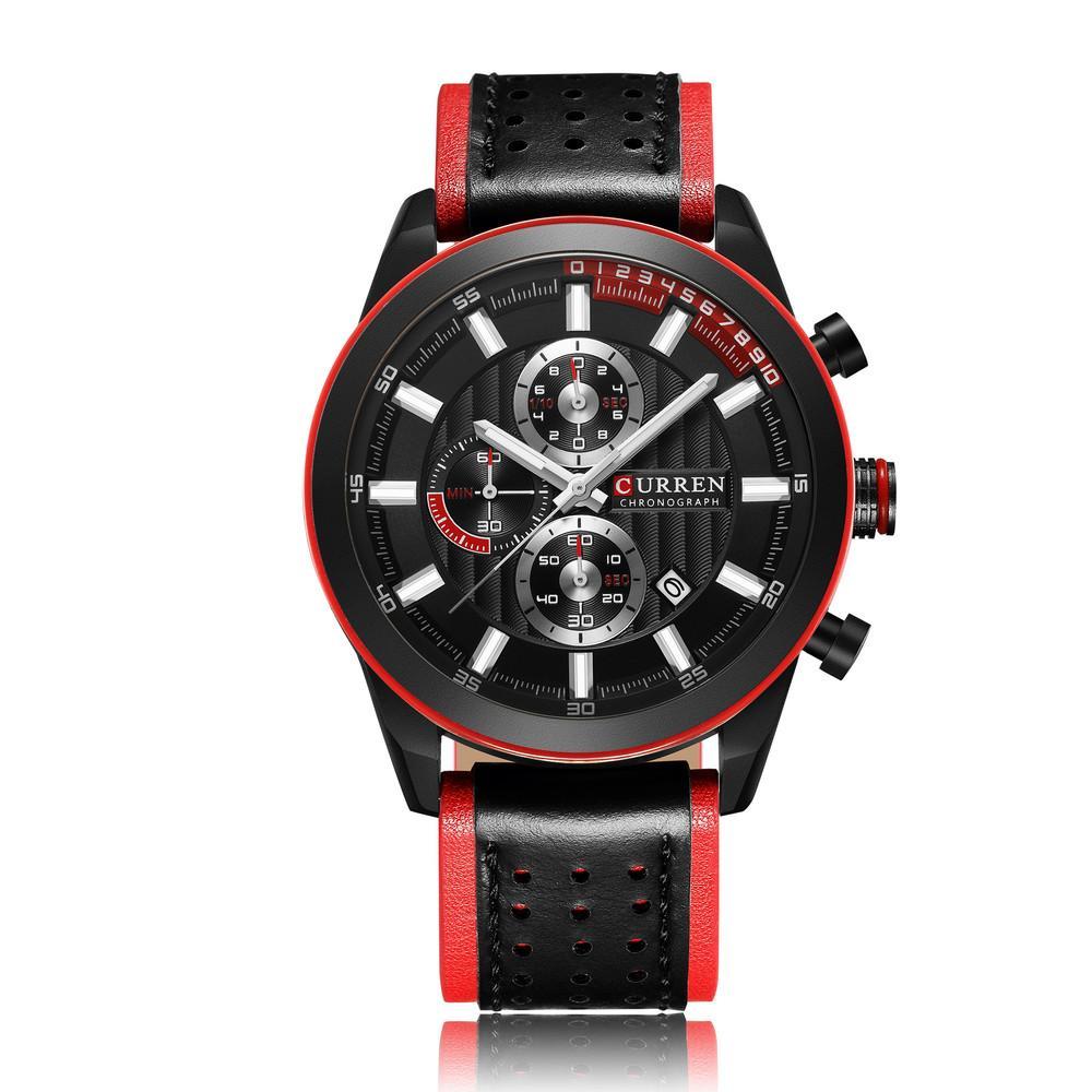 CURREN 8292 Men Japan Quartz Movement Wristwatches Fashion Leather Band Alloy Case Auto Date relogio masculino, 5 colors