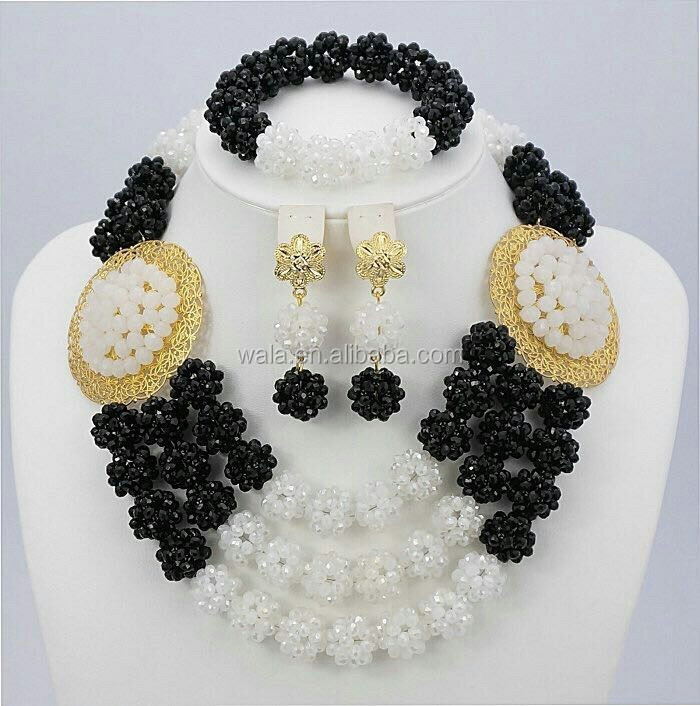 2015 Latest Design Nigeria Bridal Black And White Beads Jewelry ...