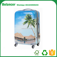 hard case colorful Printing ABS and PC Film travel trolley Luggage