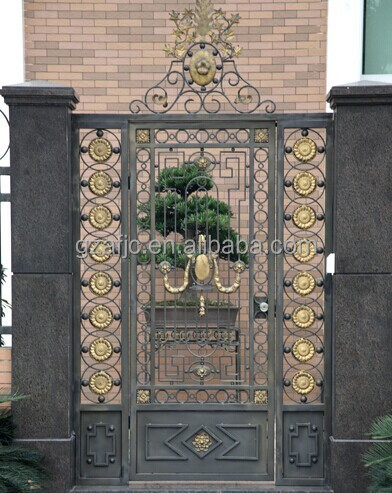 Steel Fence Gate Metal Fence Gate For Yard Copper Color Strong
