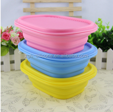 Hot selling eco-friendly microwave silicone folding lunch box silicone lunch container