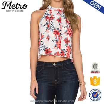 Custom Fl Print Polyester High Neck Designs For Las Tank Tops Top