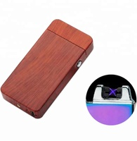 Wooden Pattern USB Charging Windproof No Gas Double ARc Lighter Smoking Lighter
