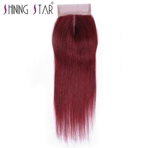 BG Color Middle Part Straight Lace Closure Remy Hair