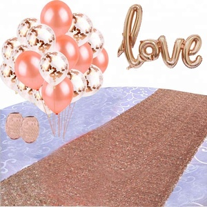2018 Rose gold Bridal Shower decorations confetti Balloons bachelore rose gold Sequin table runner party supplies