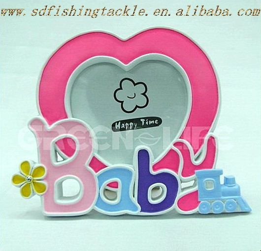2015 hot sale peach designs resin frames for baby shower gift