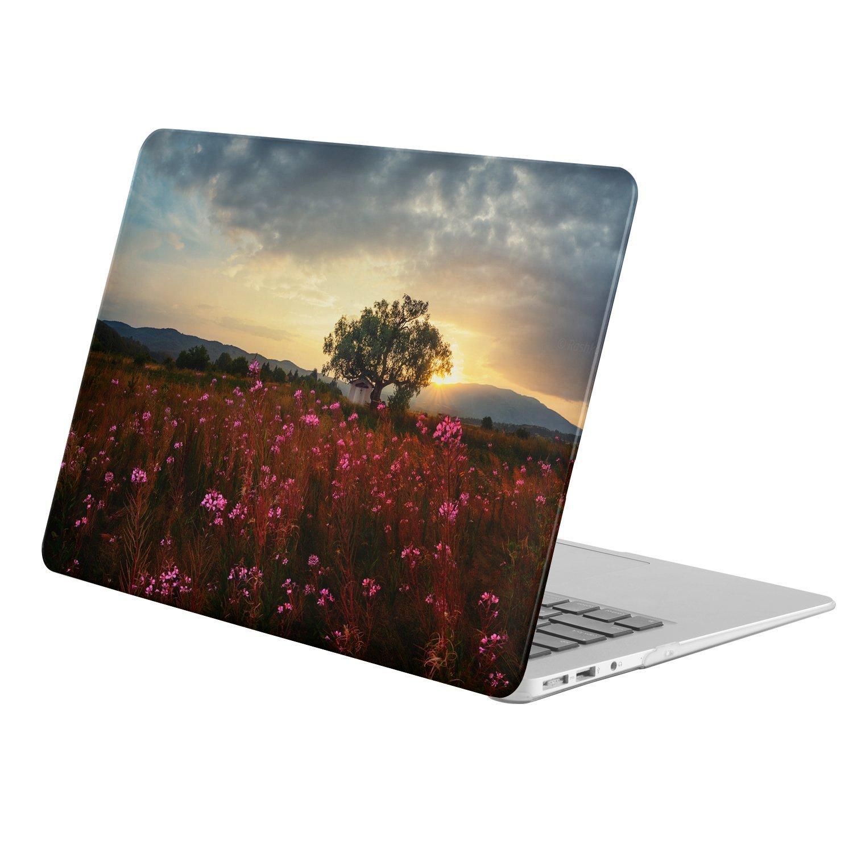 "KINGCASE - Macbook 12"" with Retina Display ( Model A1534 - Release 2015) - full body hard case - Earth Flower Flowers Pink Flower Field Tree Sky Cloud"