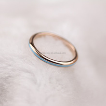 <span class=keywords><strong>Nieuwste</strong></span> ontwerp rvs rose gold dames kleine dunne blauw wit emaille ring