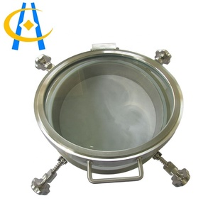 Round outward opening tank pressure manway with sight glass cover