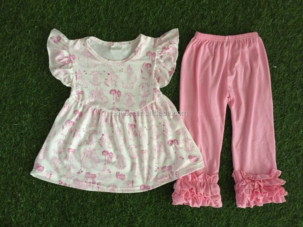 Whosales Baby clothes New Fabric persnickety children clothes Fall Knitted outfit flutter sleeve and pant set