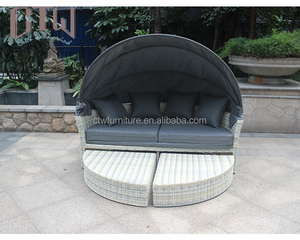 Patio Sectional Round Sunbed Rattan Outdoor Daybed with canopy