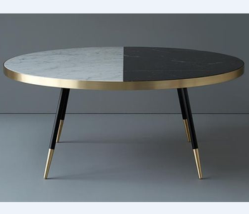 Contemporary Wood With Stainless Steel Gold Legs Two Tone Marble