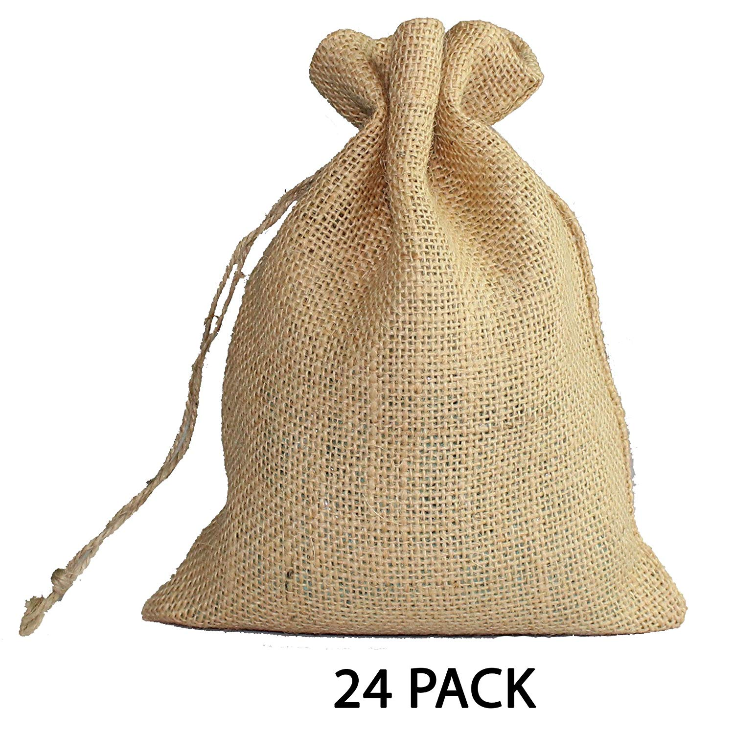 Cotton Craft - 24 Pack - Jute Burlap Gift Bags - Natural - 6x8 - Versatile - Sturdy - Rustic - Durable