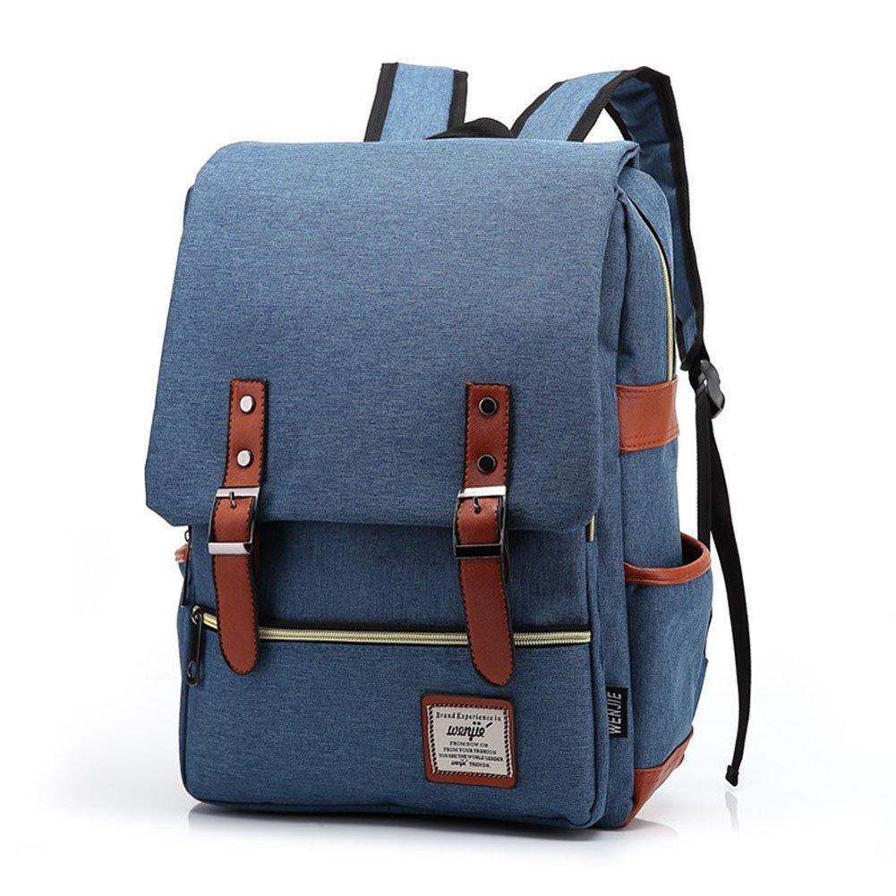 Gazigo Vintage Unisex Solid Bookbags Canvas Casual Backpack School Laptop Travel Rucksack Satchel Retro Shoulder Bag Daypack