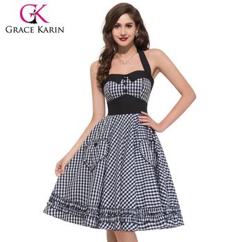Grace Karin Summer Dress Plus Size Women Clothing Retro Swing Gown