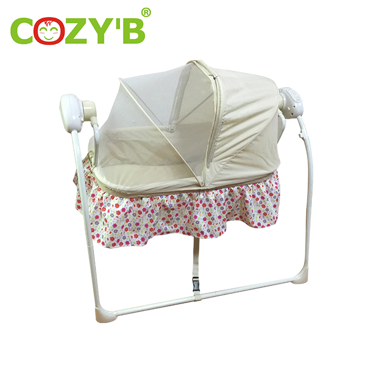 Pink Electric Baby Cradle Mat Electric Baby Crib Cradle Auto Swing Rocking Chair Big Space Baby Infant Sleeping Bed Cradle Rocking Music Remoter Control Sleeping Bed Basket Newborns Bassinets