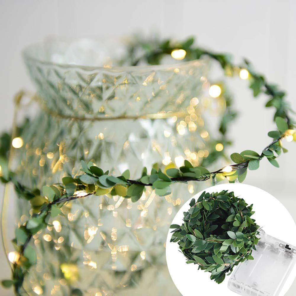 Rumas Leaf Decor LED Fairy Lights - Romantic Decor for Living Room Bedrom Girls ROM - Happy Halloween Decoration - DIY LED Night Light for Garden Patio Lawn (Green, 3.0)
