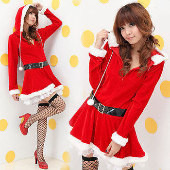 06e6e97bd955d Womens Christmas Red Flannel Hooded Dress Xmas Party Santa Dress Long  Sleeve BW1216