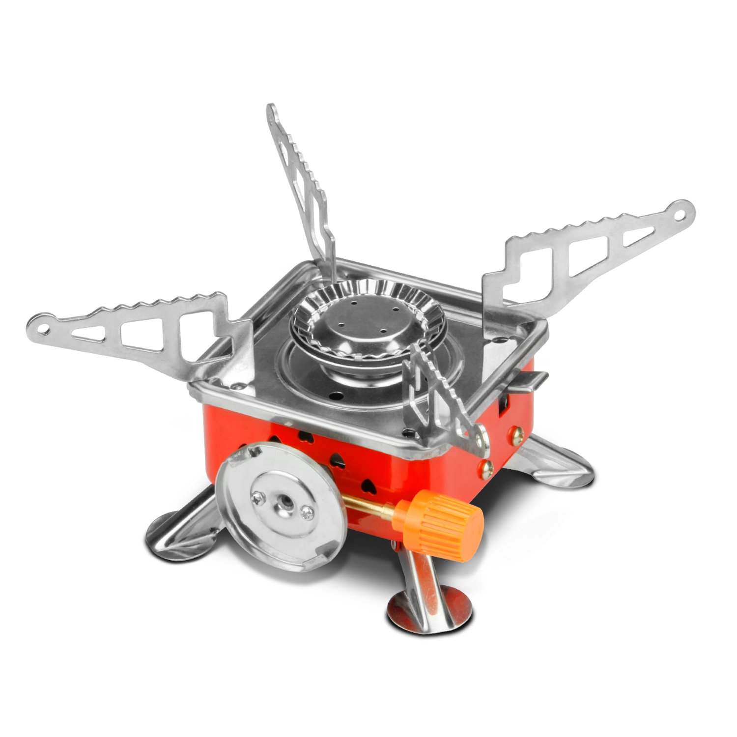 Etekcity E-gear Portable Collapsible Outdoor Backpacking Gas Camping Stove Burner (Orange)