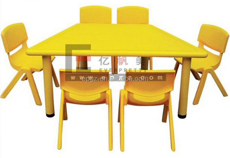 6-Seaters Kids Table and Chair, Kids Plastic Desk and Chair Set, Kids School Desk Chair