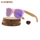 Crystal matt pink Plastic Frame with wood bamboo temples shades handmade sunglasses bulk buy from China