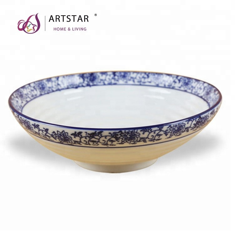 chinese blue white creative shape porcelain set ramen bowl