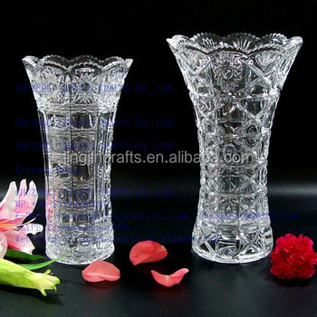 Modern Chinese Hand Cut Clear Glass Vasemachine Pressedhand