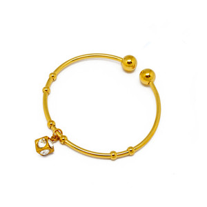 Olivia Stainless Steel Women Jewellery 24K Gold Diamond Charms Bangle