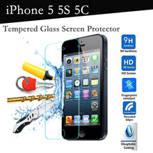 Brand New 0.3mm Thin Premium Tempered Glass Screen Protector for iphone 5S Protective film iphone 5C 5 With Retail Box Original