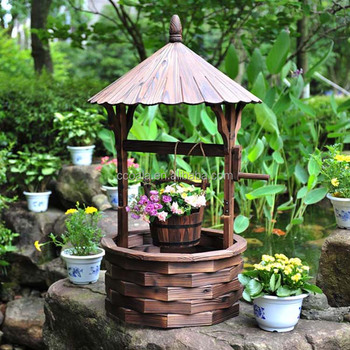 Outdoor Wishing Well Planter Rustic Flower Bucket Base Garden Yard