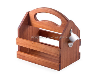 Cheap Wooden Beer Carrier With Bottle Opener Customized Six Pack Buy Wood Beer Caddy Wooden Beer Holderwooden Beer Tote Wooden Beer