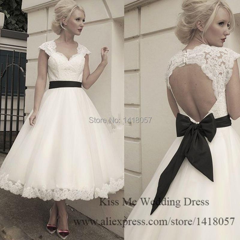 Vintage Black Wedding Dresses: 2015 Vintage Short Wedding Dress Tea Length Lace Bridal