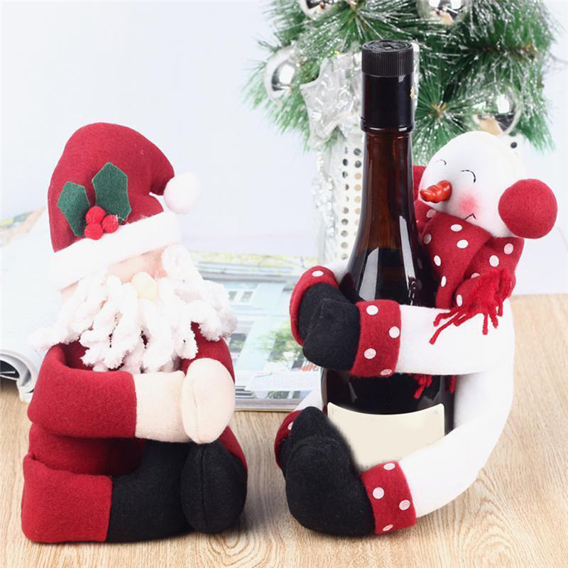 Brand Home Christmas Decoration Chirstmas Gifts 2 Set Red Wine Bottle Santa Claus Cover Bag Party supply free shipping