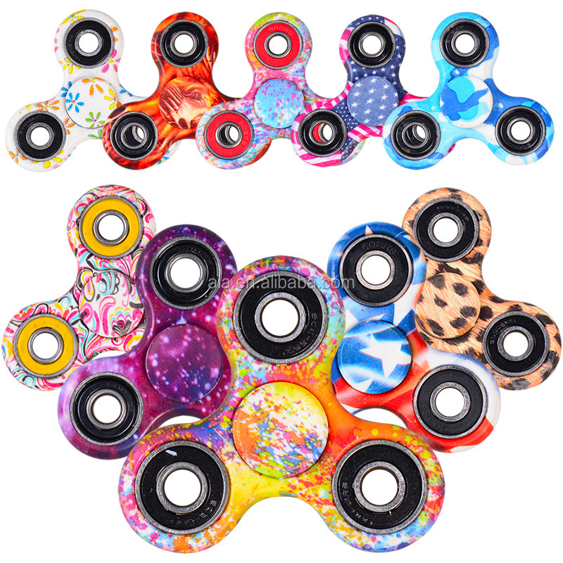 2017 factory Tri Fidget Hand Spinner Colorful Painting Wood grain Flame Rainbow ABS hand spinner