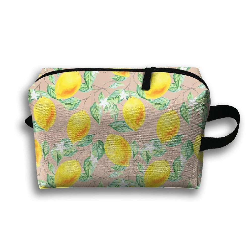 Fresh Lemon Leaf Printed Travel Toiletry Bag Multifunction Portable Bag Cosmetic Bag For Home Office Camping Sport Gym Outdoor