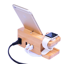15W 3A 3-Port USB Bamboo Wood Charging Station for Apple Watch Stand for Smartphones