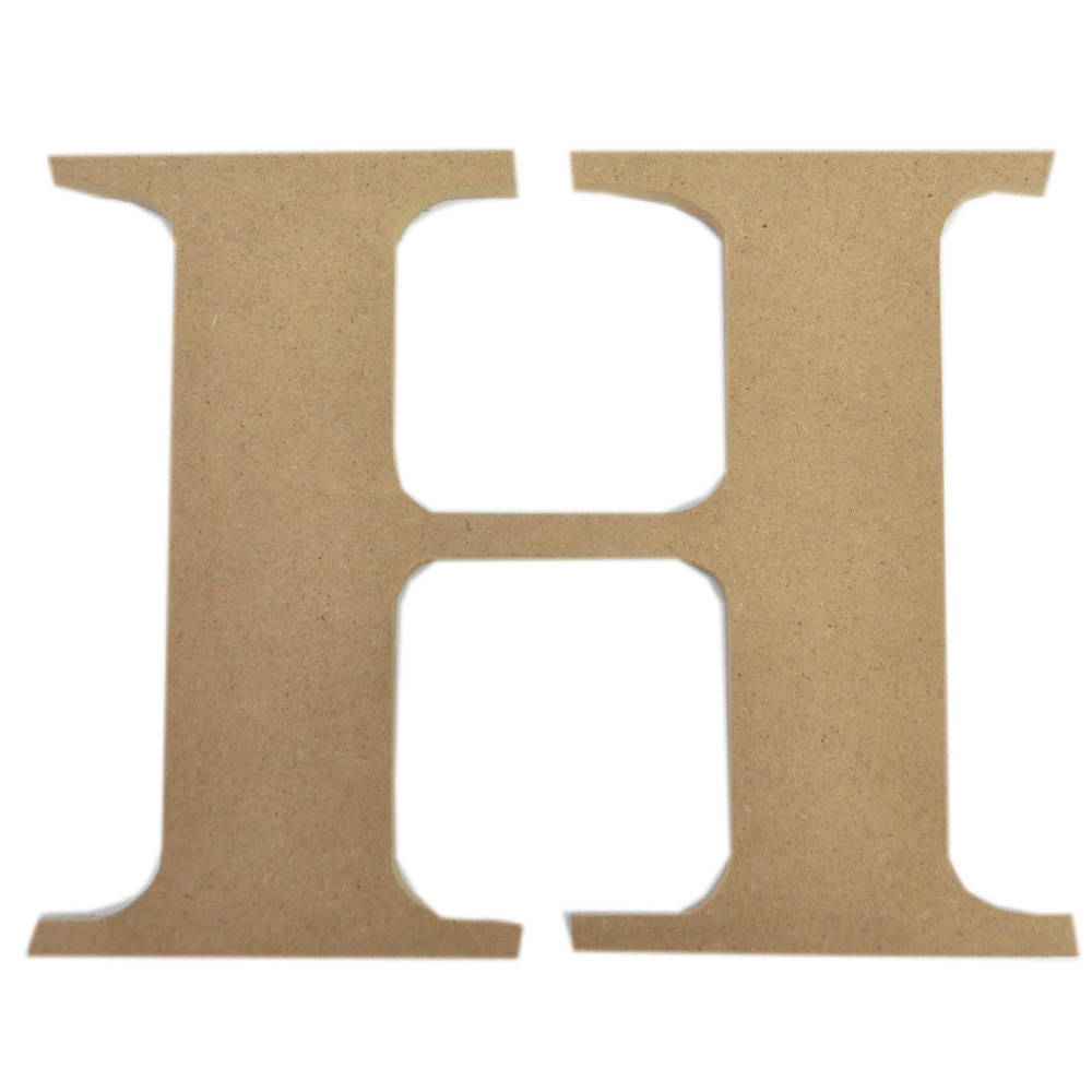MDF craft Wooden Mache brown Alphabet Letter H