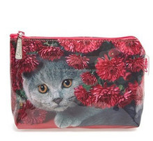 Images Printed Small Cat Flowers Cosmetics Bag & Cases