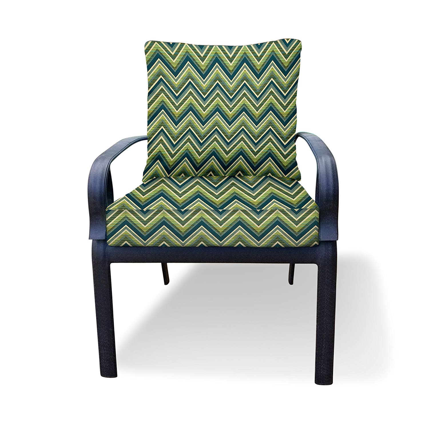 Thomas Collection Outdoor Cushion, Blue Green Outdoor Cushions for Chair, Chaise or Seat Only, Sunbrella Outdoor Dining Chair Cushions, Made in USA, 13156 - Furniture Not Included