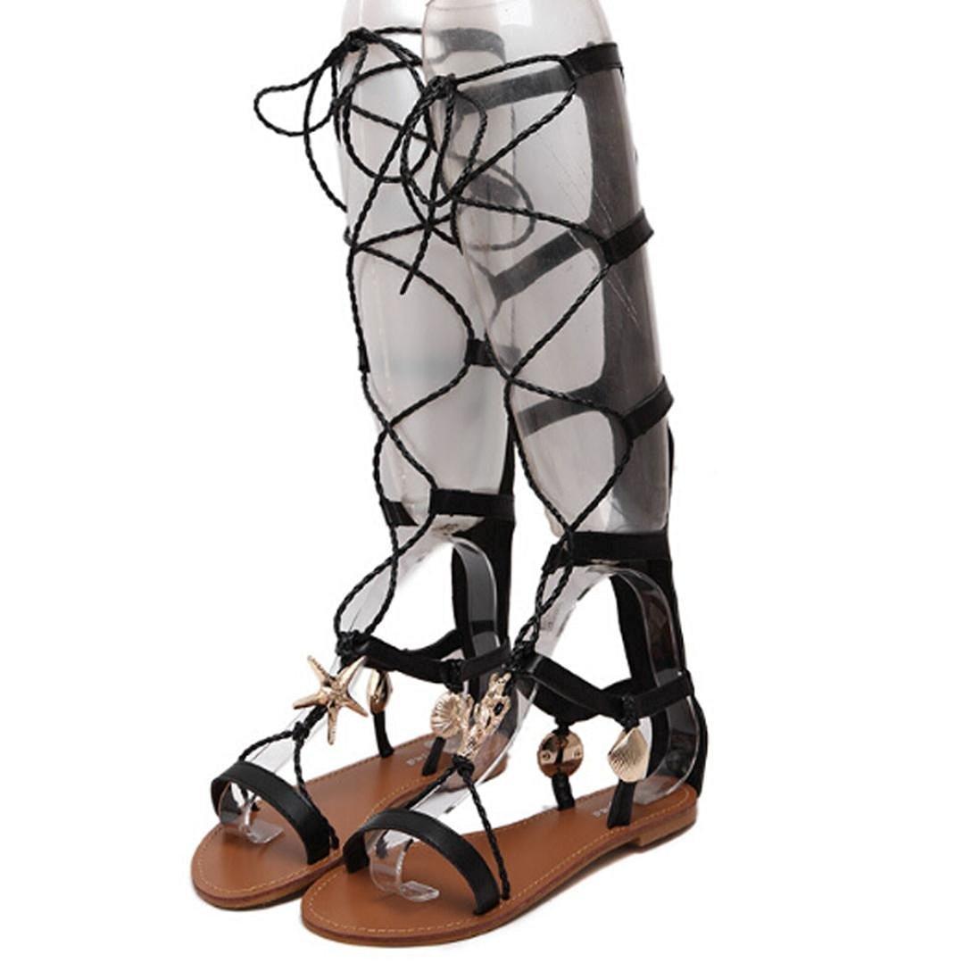 7a0bd6b2 Get Quotations · Hunputa Knee High Lace Up Gladiator Sandals Flat Heel  Roman Women's Boot Shoes