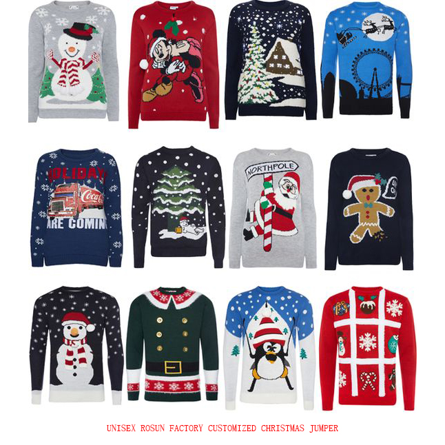 ROSUN Factory Customized Unisex Christmas Jumper, Ugly Christmas Sweater, Holiday Sweaters