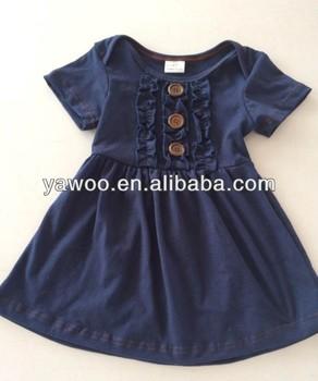 440061db2 new children girls navy blue 100knit cotton handmade ruffle dress ...