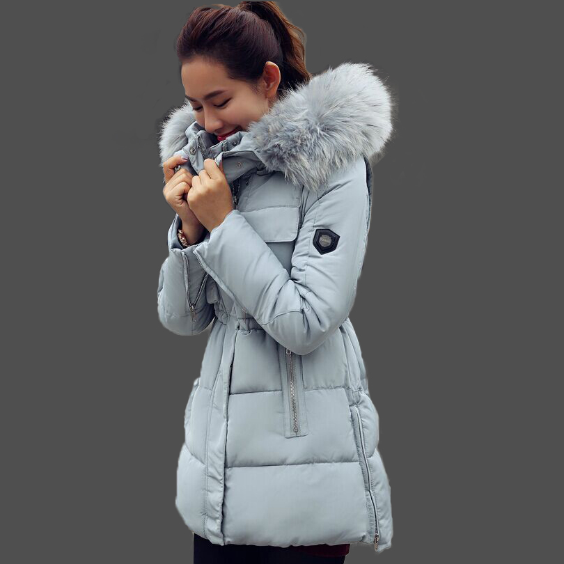 7881fa54a Winter Jacket Women Cotton Coat Down Parka Large Raccon Fur Collar ...