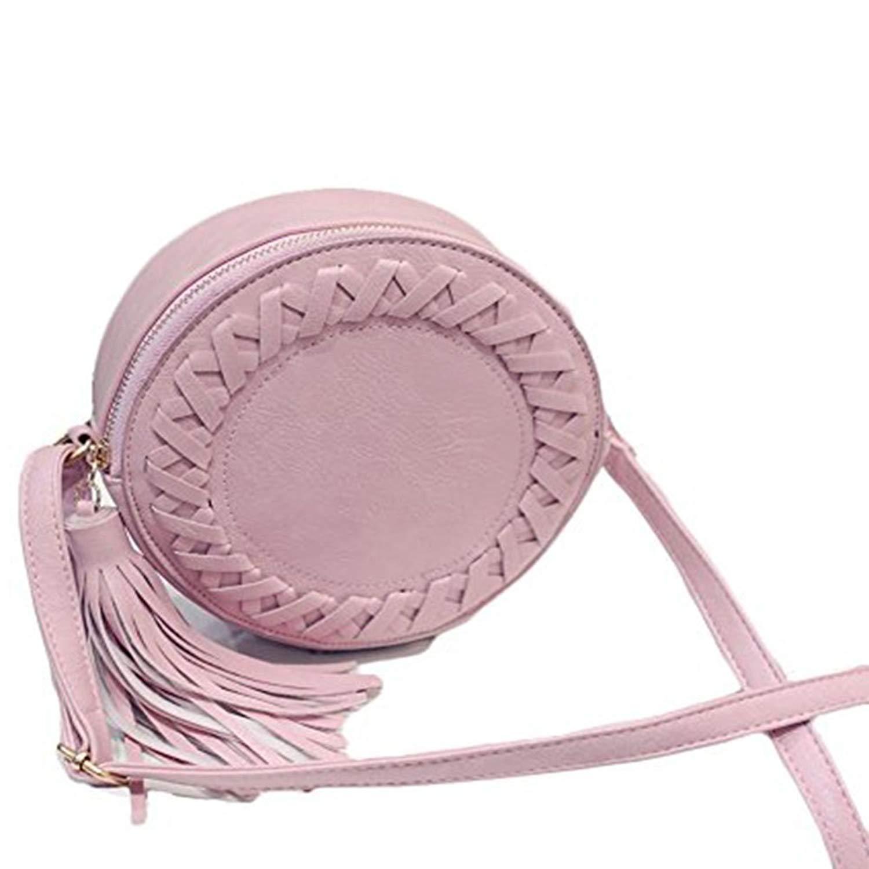 Manka Vesa Round Women Tassel Bag Woven Crossbody Bags Shoulder Bag Ladies Knitting Circular Women Bag