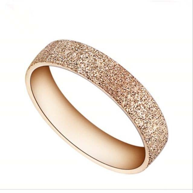 wholesale minimalist jewelry 316l stainless steel fashion designs matting rose gold ring for women