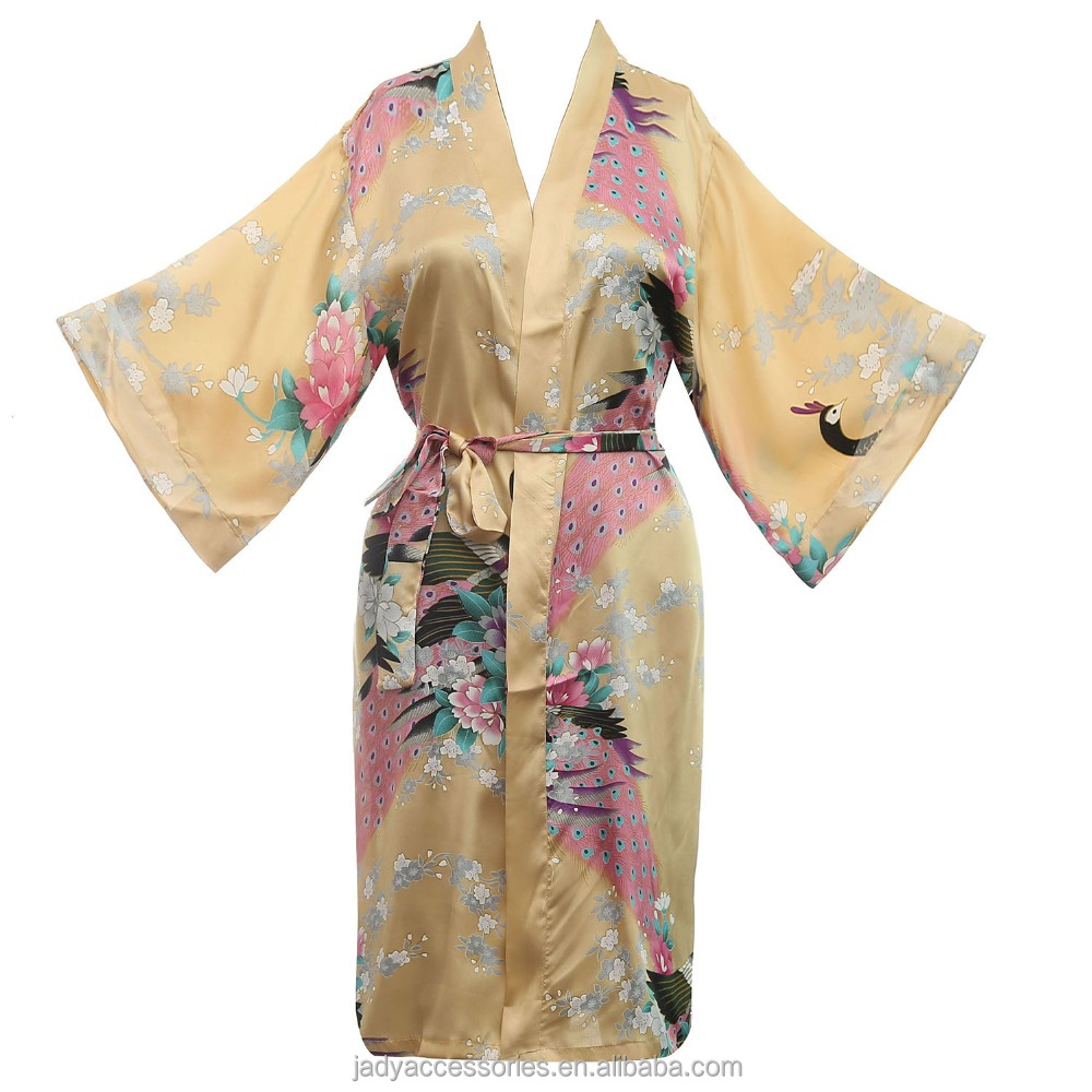 2019 Newest ladies sexy colorful floral satin lightweight bathrobe,brides robe