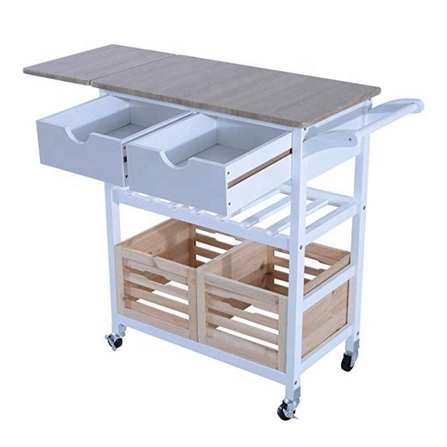 Kitchen Trolley Cart Drop Leaf Table Folding Dining Modern Design Wheels  Kitchen Island Storage Utility Cart Portable - Buy Kitchen Trolley Cart ...